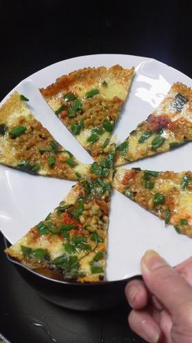 チーズと納豆ピザ