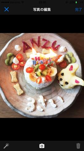 さつまいもを使った犬の誕生日ケーキ