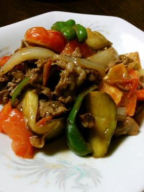 クミン&コリアンダー風味の牛トマト炒め