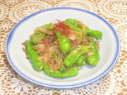 しし唐と豚挽肉の甘辛炒めの写真