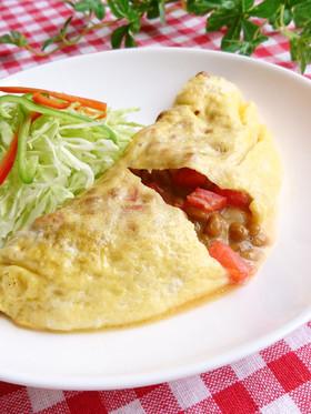 とろ~り♪トマトとチーズの納豆オムレツ