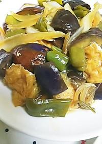 油揚げと夏野菜の甘酢炒め
