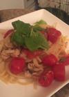 塩鯖とイタリアンミニトマトのパスタ