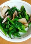 ツルムラサキと舞茸のガーリック炒め