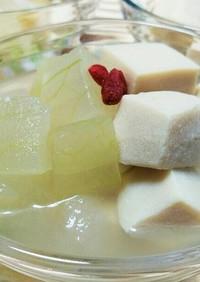 冷やしていただく冬瓜と高野豆腐の含め煮♪