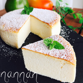 水切りヨーグルトでスフレチーズケーキ風♡
