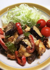 鶏肉と夏野菜のソテー マヨゴマ醤油味