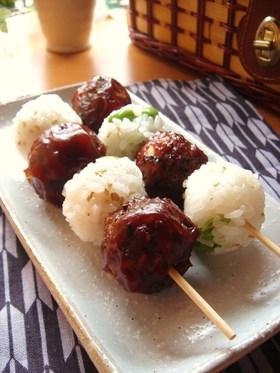 枝豆ごはん&ひき肉のくし団子