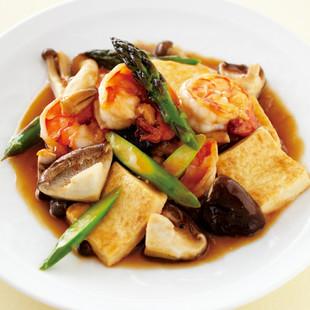 豆腐とエビのオイスターソース煮