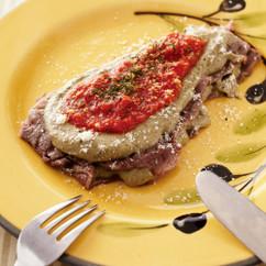 牛肉のナス入りオリーブオイルペーストのせ