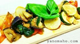 【簡単】夏野菜とササミのバジル炒め