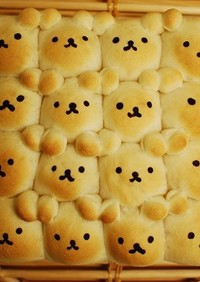 スクエア型で作る☆くまさん♡ちぎりパン
