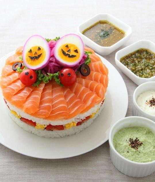 紫たまごのジャックランタンケーキ寿司♪