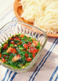 夏バテ解消☆モロヘイヤと完熟トマトの素麺