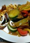 イカと夏野菜のカレー炒め