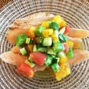 炙りサーモンの夏野菜マリネソース