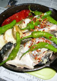 紅鮭のアラ・ししとう・長芋の満腹タパス