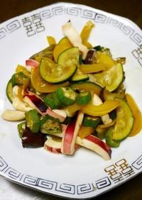 簡単!イカと夏野菜のオイスターソース炒め
