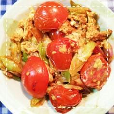 鶏がらで簡単!ミニトマトと長ねぎの卵炒め