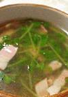 豆苗とベーコンのにんにくスープ
