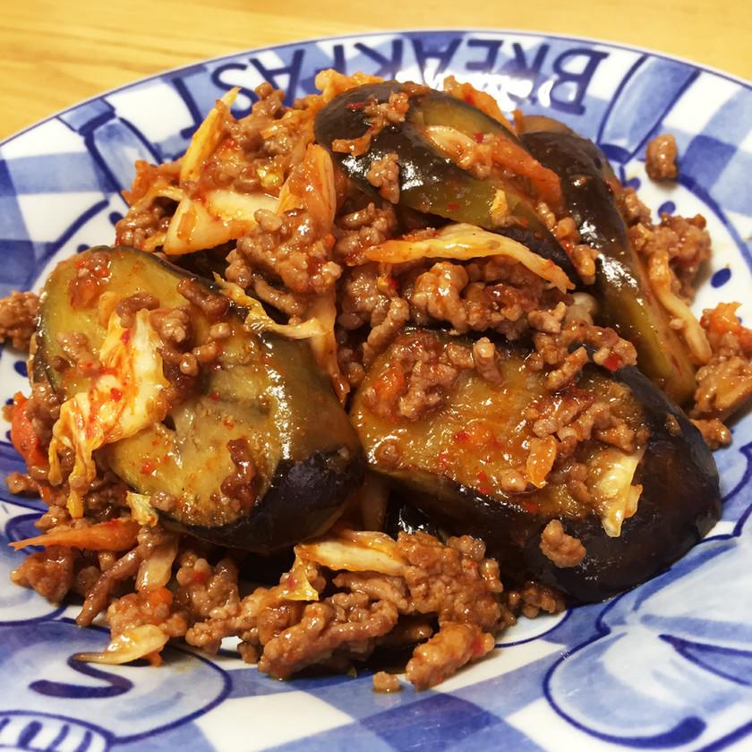 白米に合う☆ひき肉となすの辛旨キムチ炒め