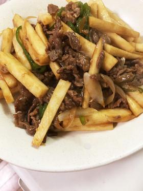 ☆焼肉のタレ活用術~長芋と牛肉の炒め物☆