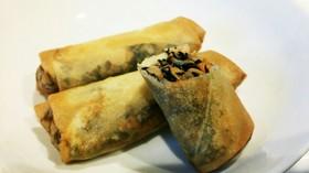 給食の味♡納豆とひじきの春巻き