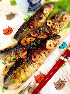 秋刀魚のアーリオオーリオ・ペペロンチーノ