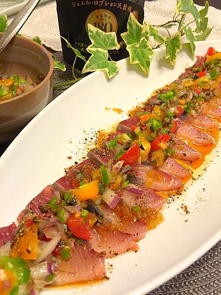 ハマチのお刺身♬夏野菜ドレッシング添え♡