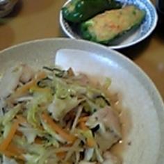 ピーマン鮭ポテト詰め
