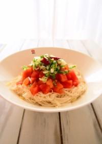 簡単美味しい トマトのペペロンチーノ素麺