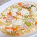 白菜とハムの中華風塩あんかけ豆腐。