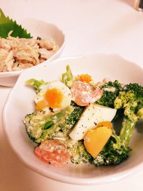 エビとブロッコリーとゆで卵のサラダ