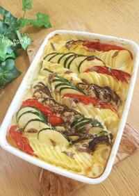 夏野菜とポテトのアンチョビクリーム焼き