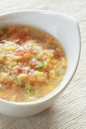 【離乳食後期】トマトオクラのかき玉スープ