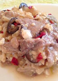 塩ピーマンとオリーブの肉豆腐