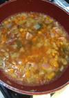 二刀流料理同時に、味噌汁とミネストローネ