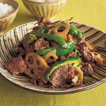 牛肉とれんこんのピリ辛炒め