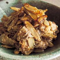 豚バラとごぼうの梅ごま炒め