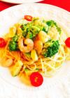 海老とアボカドとブロッコリーの豆乳パスタ