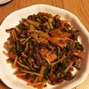 香味ペーストを使った牛肉と長芋の炒め物