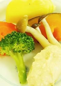 簡単!蒸し野菜の豆腐クリーム添え