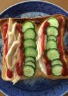 サラダチキンと胡瓜のケチャマヨトースト