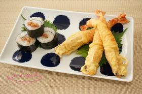 天神様の梅シソ海苔巻とまっすぐエビ天ぷら