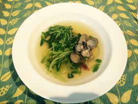 しじみと豆苗のにんにくスープ