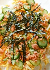 葉生姜と鮭そぼろのちらし寿司