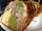 5色のマーブルパウンドケーキの写真