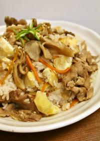 秋の昼夕弁当♪栗入り豚肉と舞茸の混ぜご飯