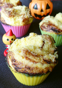 簡単!かぼちゃとココアのマーブル蒸しパン
