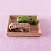抹茶と大納言小豆の浮島 ラムレーズンとクリームチーズの浮島